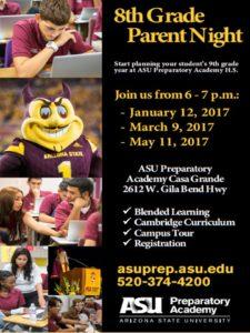 ASU Preparatory, 8th Grade Parent Night! @ ASU Preparatory Academy Casa Grande   Casa Grande   Arizona   United States